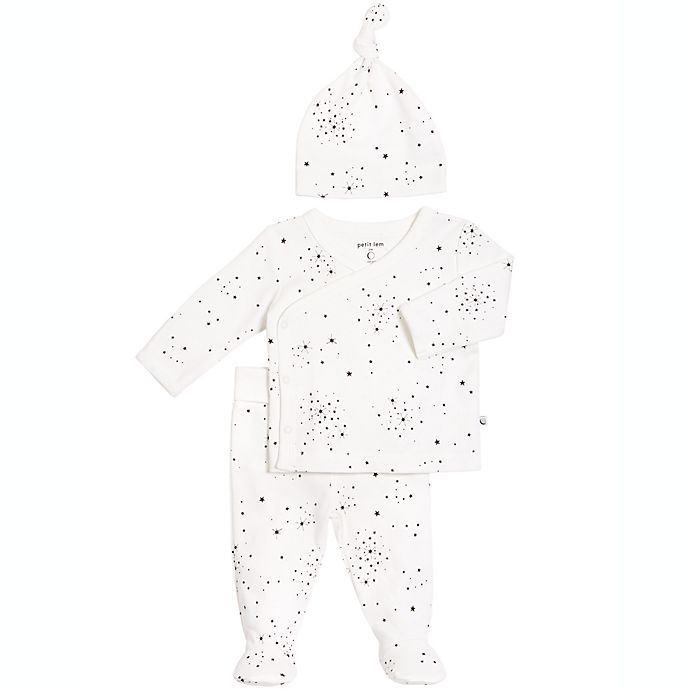 Alternate image 1 for Petit Lem™ 3-Piece Stars Kimono, Footed Pant, and Hat Set in Black