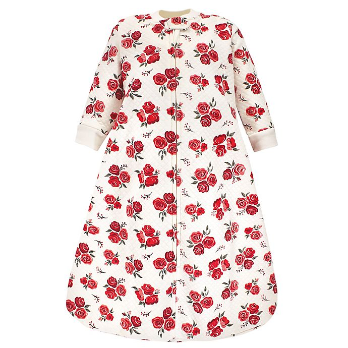 Alternate image 1 for Hudson Baby® Rose Quilted Long Sleeve Wearable Blanket in Red