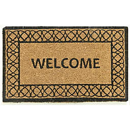 "First Concept 18"" x 30"" Welcome Black Double Coir Door Mat in Natural"