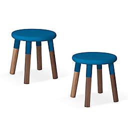 Peewee Kids Chair, Set of 2, Walnut Veneers, Blue