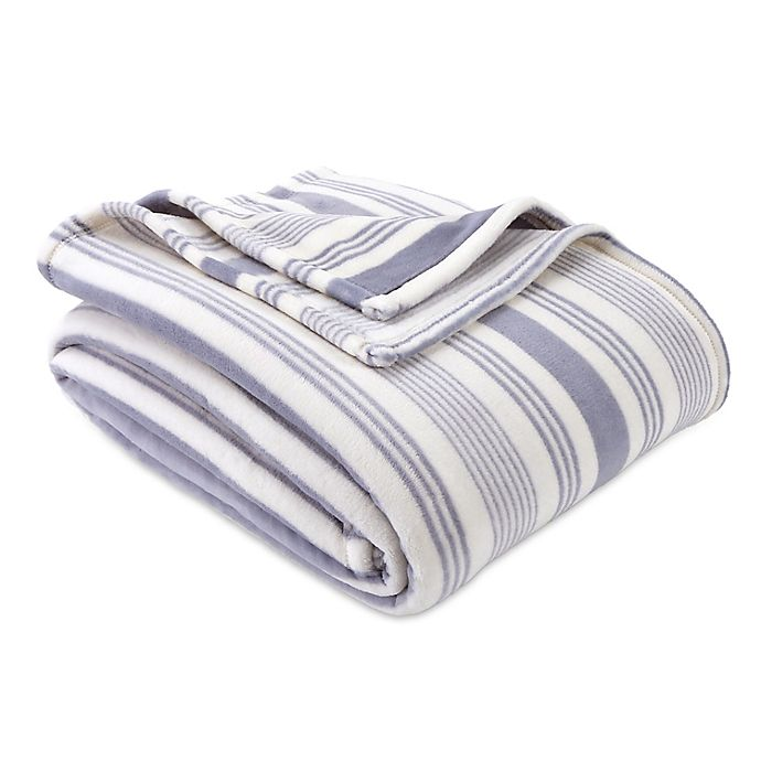 Alternate image 1 for Bee & Willow™ Home Striped Plush Full/Queen Blanket in Blue