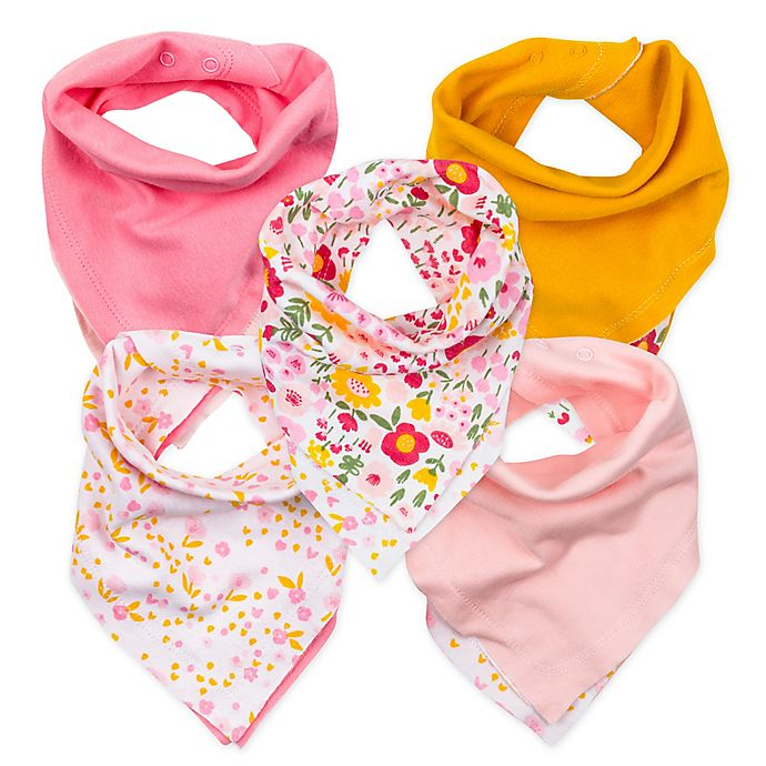 Alternate image 1 for The Honest Company® 5-Pack Organic Cotton Bandana Bib Burp Cloths in Pink/Gold