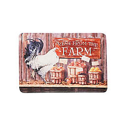 The Farm Rooster Anti-Fatigue Kitchen Mat in Walnut