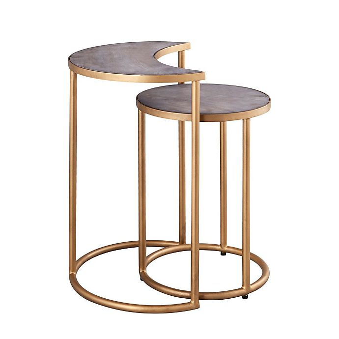 Alternate image 1 for Wild Sage™ 2-Piece Nesting Table Set in Gold/Distressed Black