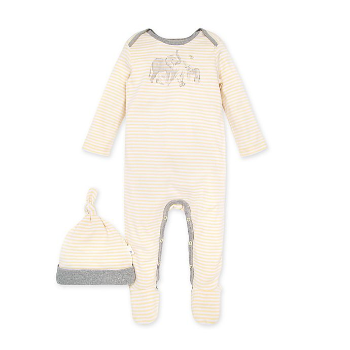 Alternate image 1 for Burt's Bees Baby® 2-Piece Ello Elephant Footie and Hat Set in Yellow