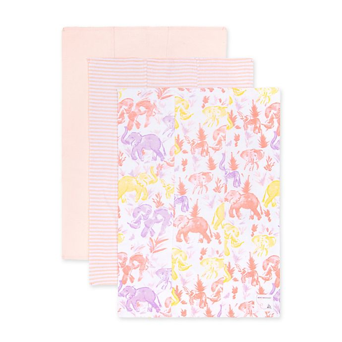 Alternate image 1 for Burt's Bees Baby® 3-Pack Organic Cotton Ello Elephants Burp Cloths in Coral