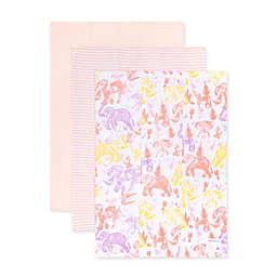 Burt's Bees Baby® 3-Pack Organic Cotton Ello Elephants Burp Cloths in Coral