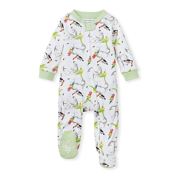 Alternate image 1 for Burt's Bees Baby® Size 0-3M Flying Tropics Organic Cotton Sleep 'N Play Footie in Mint