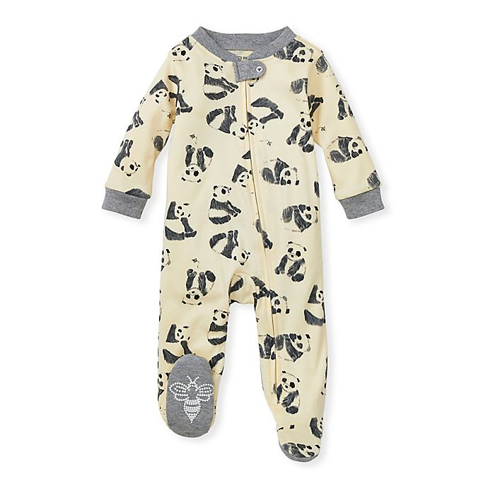 Alternate image 1 for Burt's Bees Baby® Preemie Pandamonium Organic Cotton Footed Pajama in Cream