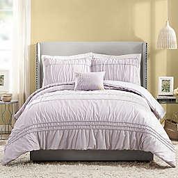 Jessica Simpson Ruched Stripe 4-Piece Comforter Set in Light Purple