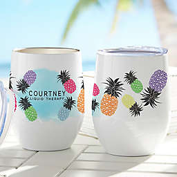 Pineapple Party Printed Stemless Wine Cup in White