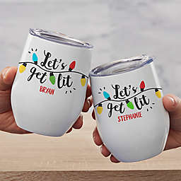"""""""Let's Get Lit"""" Stainless Steel Stemless Wine Cup in White"""