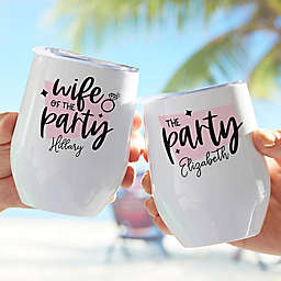 """""""We R Party"""" Bachelor Stainless Steel Stemless Wine Cup in White"""