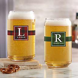 Christmas Plaid Beer Can Glass
