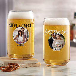 Couple's Photo Message Beer Can Glass