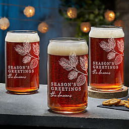 Festive Foliage Christmas Beer Can Glass