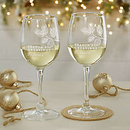 Festive Foliage Christmas White Wine Glass