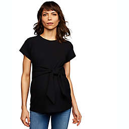 A Pea in the Pod Small Tie Front Textured Maternity Top in Black