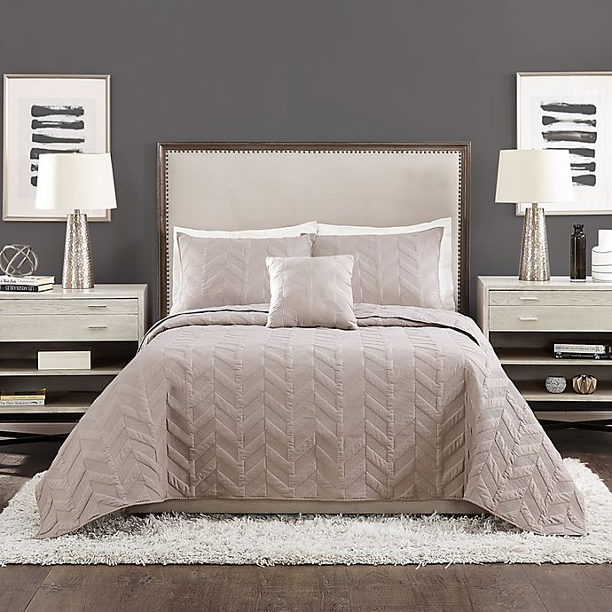 Alternate image 1 for Ayesha Curry™ Texture Chevron 4-Piece King Coverlet Set in Grey
