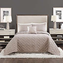 Ayesha Curry™ Texture Chevron 4-Piece King Coverlet Set in Grey