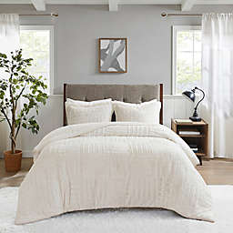 Madison Park Artic Faux Fur Down Alternative 3-Piece Full/Queen Comforter Set in Ivory