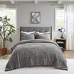 Madison Park Artic Fur Down King/ California King Comforter Mini Set in Grey
