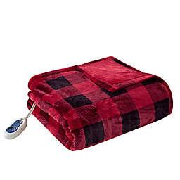 True North by Sleep Philosophy Oversized Heated Throw Blanket in Red