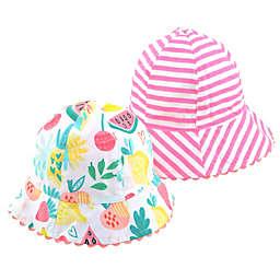 Generic Reversible Bucket Hat in Fruit/Pink Stripe
