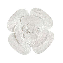 Stratton Home Décor 3D Blooming Flower 15.8-Inch x 15.8-Inch Metal Wall Art in White
