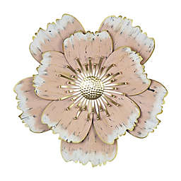 Stratton Home Décor Layered Metal Flower 16.5-Inch x 16-Inch Wall Art in Pink