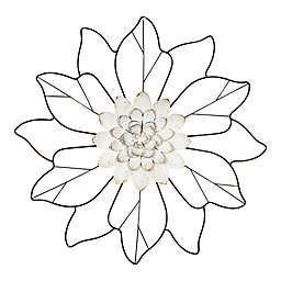 Stratton Home Décor 3D Metal Outline Flower 16.5-Inch x 16.5-Inch Wall Art in White