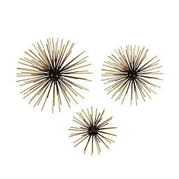 Stratton Home Décor Starburst 3D Metal 10-Inch x 10-Inch Wall Art in Black/Gold (Set of 3)