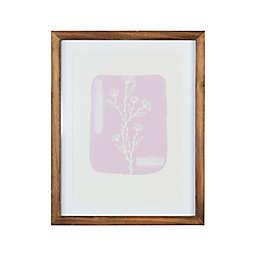 Stratton Home Décor 11-Inch x 14-Inch Framed Glass Flower Leaf Wall Art in Pink