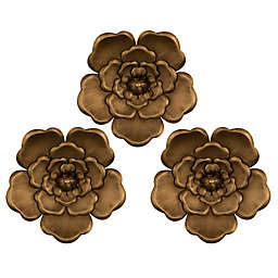 Stratton Home Décor Metal Flowers 8-Inch x 8-Inch Wall Decor in Gold (Set of 3)