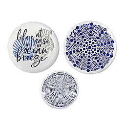 Stratton Home Decor Life's a Breeze 3-Piece Decorative Wall Plate Set in Blue/White/Grey