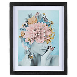 Stratton Home Décor Abstract Floral Lady Framed Wall Art in Blue