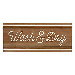 """Stratton Home Décor """"Wash & Dry"""" 23.6-Inch x 10-Inch Wall Art in Natural Wood"""
