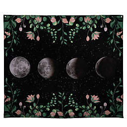 Stratton Home Décor Moon Phases 57.5-Inch x 50-Inch Floral Border Wall Tapestry