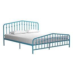 Novogratz Bushwick King Metal Platform Bed in Sea Blue