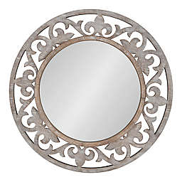 Kate & Laurel™ Shovali 31.5-Inch Round Rustic Wall Mirror in White