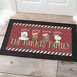 """Holly Jolly Characters 18"""" x 27"""" Door Mat in Red"""