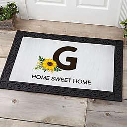 Summertime Sunflowers Monogram Door Mat