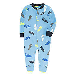 Nike® Shoe Print Footed Coverall in Blue