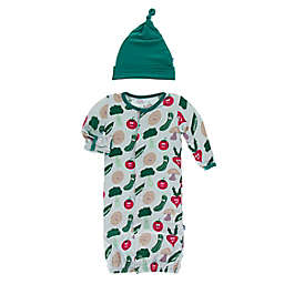KicKee Pants® Newborn 2-Piece Happy Veggie Gown Converter and Hat Set in Illusion Blue