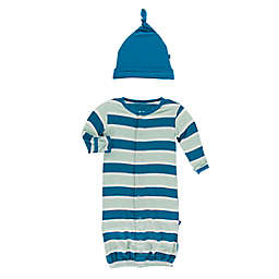 KicKee Pants® Size 0-3M 2-Piece Seaside Cafe Stripe Layette Gown Converter in Blue
