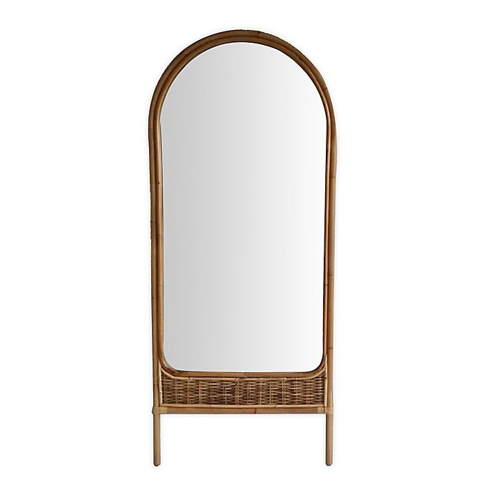 Alternate image 1 for Wild Sage™ Amina 70-Inch x 30-Inch Arched Rattan Leaner Mirror