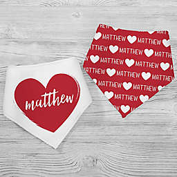 Scripty Heart 2-Pack Bandana Bibs in Red