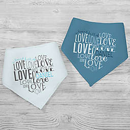 """A Heart Full of Love"" 2-Pack Multicolor Bandana Bibs"