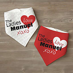 """The Ladies Love Me"" 2-Pack Bandana Bibs in Red"