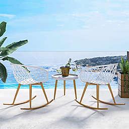 Kurv 3-Piece Rocking Chair Set in White/Natural